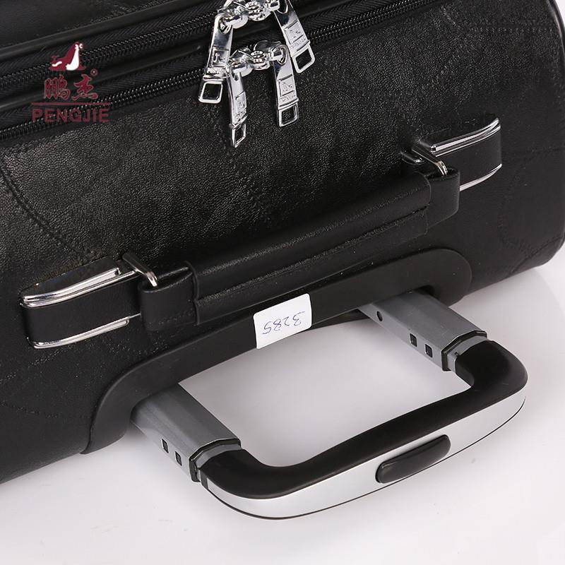 leather travel hand luggage trolley