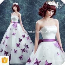 Vestido de baile de beisebol de chique de cristal chique com borboleta roxa Off Shoulder Evening Gowns