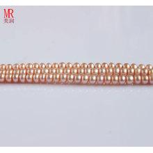 6-7mm Pérola de água doce rosa, botão redondo (ES126)
