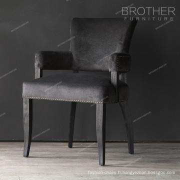 Chaise de coussin en tissu bois noir antique avec accoudoir pour salle à manger
