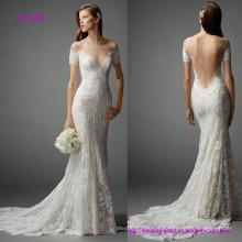 Deep V off Shoulder Backless Mermaid Wedding Dress