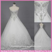WD6020 Qualité tissu lourd fait à la main exportation de qualité rhinestone mariage usine cristal alibaba robe de mariée