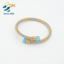 Rhodium plating bulk custom handmade stainless steel friendship bracelet