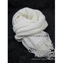 100% Acrylic Fashion White Warp Knitted Scarf with Fringe