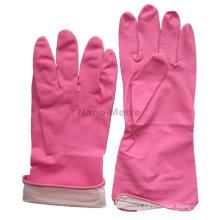 NMSAFETY spray flockline pink powder free kitchen rubber gloves