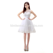 Summer Sleeveless Chiffon Beaded Short Elegant Cocktail White Evening Dress