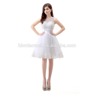 Sommer ärmellosen Chiffon Perlen kurzen eleganten Cocktail weißen Abendkleid