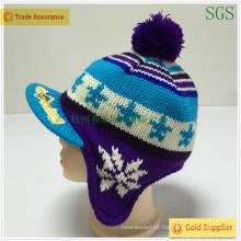 Jacquard moda inverno malha Kids Earflap Hat