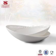 Bols à salade peu profonds en céramique blanc bon marché bol ovale
