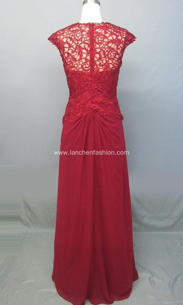 V Neck Lace Ruched Bust Evening Gown