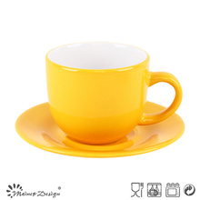 Yellow Shinning Glazing Cup and Saucer