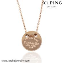 Muestra elegante de la manera Rose Gold Color Jewelry Necklace con palabras grabadas -00055