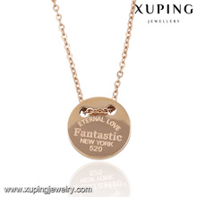 Fashion Elegant Sample Rose Gold Color Jewelry Pendant Necklace with Words-Engraved -00055