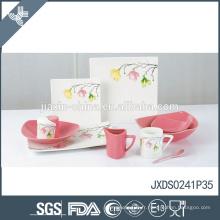 Vente chaude prix compétitif fleur fraise en céramique en céramique set de vaisselle en grès