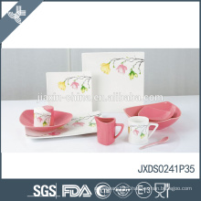 Hot sale competitive price fresh flower decal ceramic stoneware dinnerware set