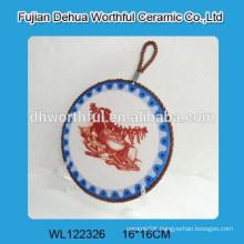 Retro round shape ceramic pot mat with lifting rope