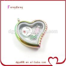 Atacado de cristal pingente medalhão de coração de prata, em forma de coração pingente de moldura para colar de jóias
