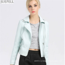 Женские кожаные короткие куртки PU пункте Осенний пузырь женщины PU кожаная куртка папку