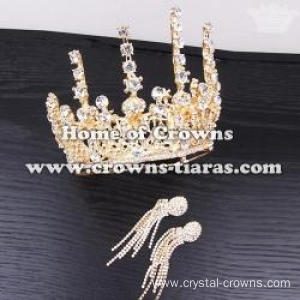 Crystal Full Round Wedding Crowns With Clear Diamonds