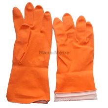 NMSAFETY waterproof glove cheap spray flockline orange household latex glove