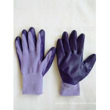 13G полиэфирные оболочки нитрила покрытием перчатки безопасности работы (N6018)