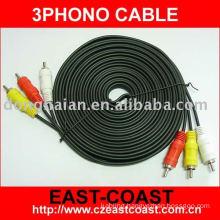 Molded yellow white av cable
