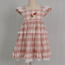 2019 wholesale children clothing girls pink check dress