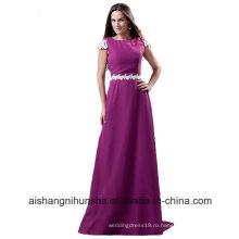 Длинные платья невесты с коротким рукавом линии шифон свадебные платья