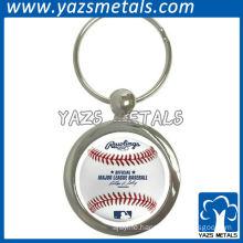 Charming round metal keychain for baseball members as souvenir