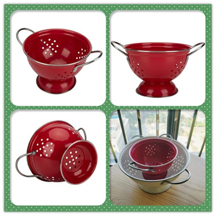 Red Enamel Colander