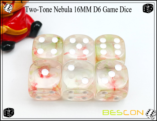 Two-Tone Nebula 16MM D6 Game Dice-8