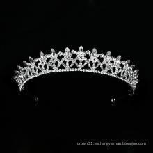 Nuevo diseño boda corona de cristal plata tiara nupcial tocado de lujo