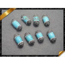 Бирюзовые бусины с отверстием MID, Кристалл, украшенный бисером Бирюзовые украшения (EF0110)