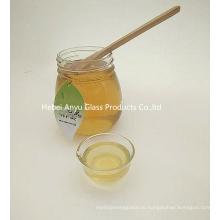 Пищевой сорт Малый 375 мл 500 г Круглая плоская варенья Стеклянная банка с медом с крышкой