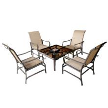 Gartenmöbel-5pc sling ESS-Set mit einem Feuerungen