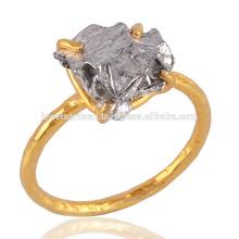 Daily Wear Light Weight Rough Meteorite Gemstone 18K plaqué or 925 anneau en argent