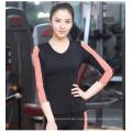 Frauen 85spandex + 15nylon fitness Plain V-Ausschnitt Kontrastfarbe 3/4 Ärmel T-Shirt Sportbekleidung
