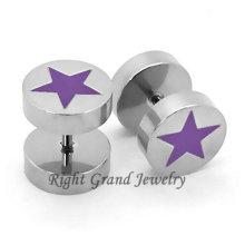 Unique Design Purple Star Fake Tunnel Earrings Piercing Jewelry