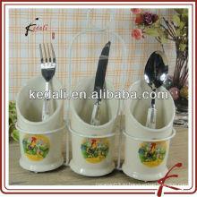 Самый продаваемый оптовый держатель керамической посуды из керамики ножей и вилок