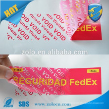 Papel personalizado etiqueta VOID etiqueta de impressão da etiqueta do selo, etiquetas de etiquetas com selo com prova de violação
