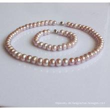 Natual Lavendel Zucht Perlen Schmuck Set