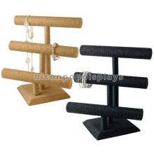 Counter Top 2 Wood Bar Display Stand para Joyería, Custom Velvet Bangle Display Stand para relojes