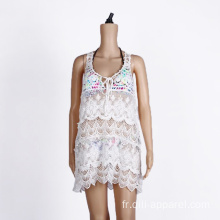 Coton Crochet Beach Cover Up White Wear Maillots de bain
