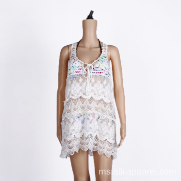 Cotton Crochet Beach Cover Up Pakaian Renang Putih