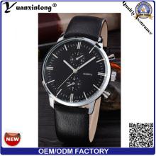 YXL-065 Men′s смотреть календарь Michanical роскошь часы кожаный стали бизнес часы