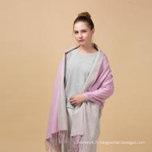 2017 usine prix hiver personnalisé rose gris double-côté écharpe en laine tissée 70 * 200cm