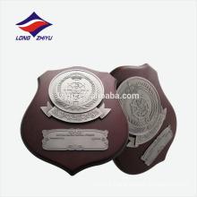 Irregular shape metal logo wooden award plaque