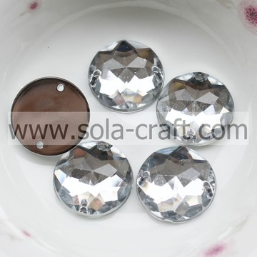 16mm Acrylic Clear Faceted Octagon Bead Mirror Effect