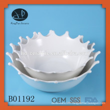 decorative white ceramic salad bowl, fashion ceramic soup bowl with fruit painting,fruit shape bowl,ceramic soup bowl set