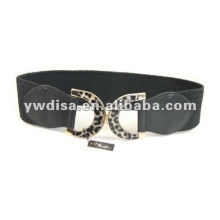 Black Elastic And Real Leather Belts For Women With Leopard Buckle
